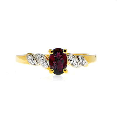 Alexandrite Ring with Diamonds